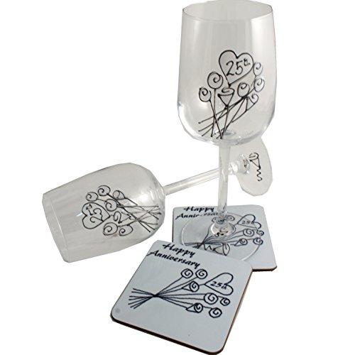 25th Anniversary Silver Wine Glass Coaster Set Flower