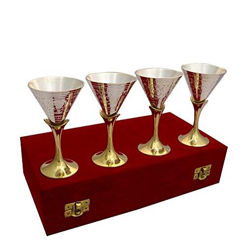 Sugandh Creation German Silver 2 Tone Set Of 4 Wine Glass