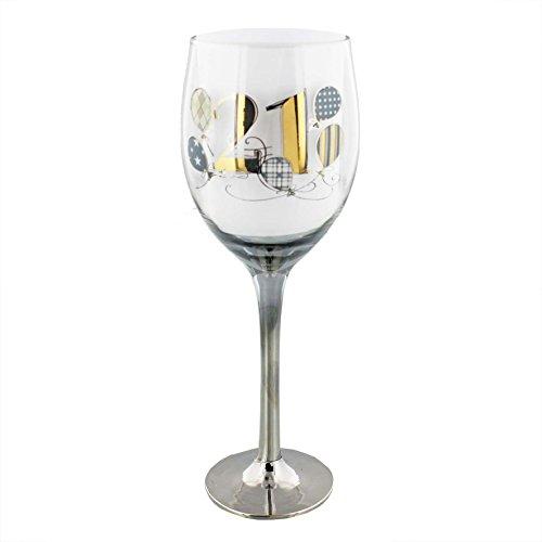 Wendy Jones Blackett Designer 21 21st Birthday Gold Silver wine glass in Gift Box
