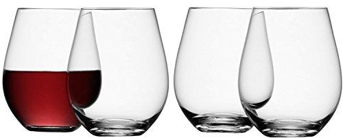 LSA International Stemless Red Wine Glass 4 Pack 178 fl oz Clear