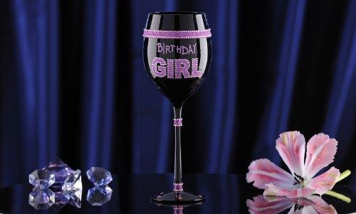Birthday Girl Glitter Wine Glass
