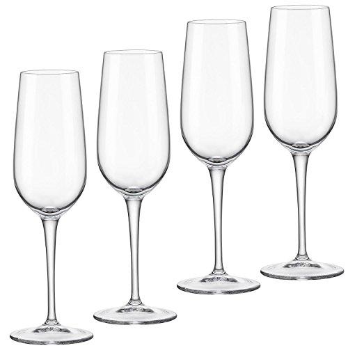 Bormioli Rocco Spazio Series 4 Flute Glasses Clear White Wine Glasses for Celebration 65 ounces