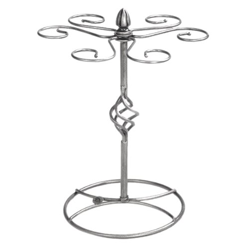 Classic Elegant Silver Metal Tabletop 6 Wine Glass Drying Rack Holder Display Stand  Air Dry System