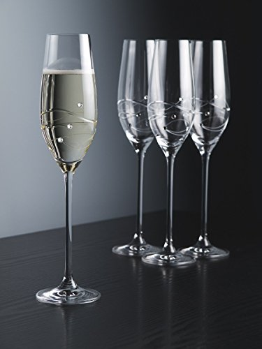 Barski - Handmade Glass - Sparkle - Champagne Flute Glass - Decorated with Real Swarovski Diamonds - Gift Boxed - 7 oz - Made in Europe - Set of 4