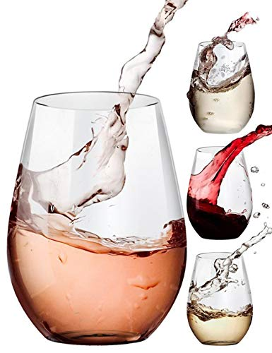 Stemless Wine Glasses for Red and White Wine Ideal for Kitchen Wedding and Party Dishwasher-Safe 20 oz Set of 4 - Amallino