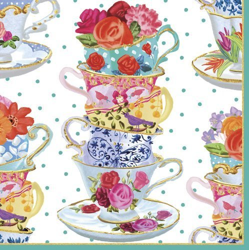 Caspari Entertaining Luncheon Napkin Pink Tea Cups 20-Pack by Caspari