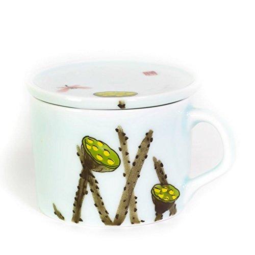 Creative ceramic coffee mug hand-painted coffee mug with lid red tea cups glass-B