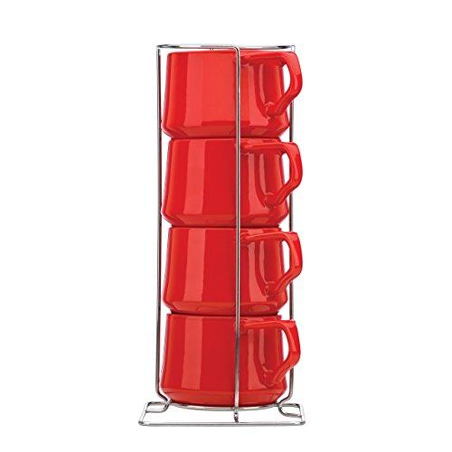 Dansk Kobenstyle 4-Piece Teacup Set with Rack Chili Red