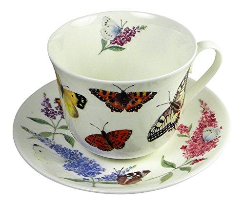 Roy Kirkham Butterfly Garden Large Breakfast Tea Cup Teacup and Saucer Set Fine Bone China