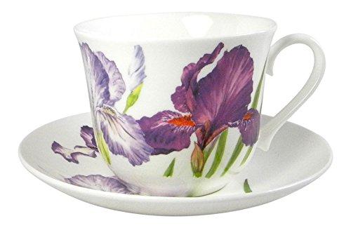 Roy Kirkham Iris Flower Breakfast Teacup and Saucer Set Fine Bone China