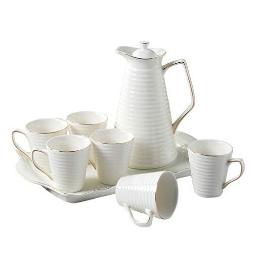 Tea Set For Home Use Home Ceramic Tea Cup Set Living Room Simple Teapot Cup Set White