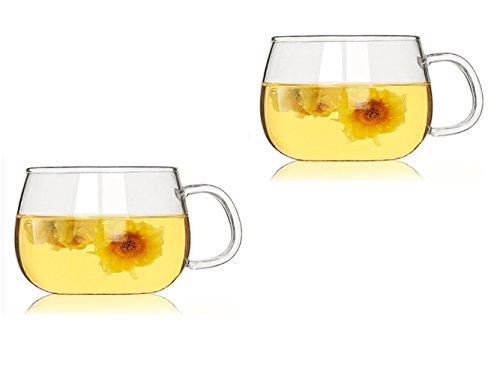 Amao Tea Cups Borosilicate Glass Small Flower Tea Cups Ultra Clear-Set of 210oz