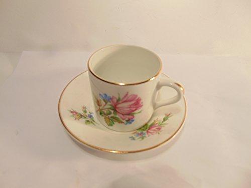 Crownford Rosina Fine Bone China Pink Flower Tea cup saucer