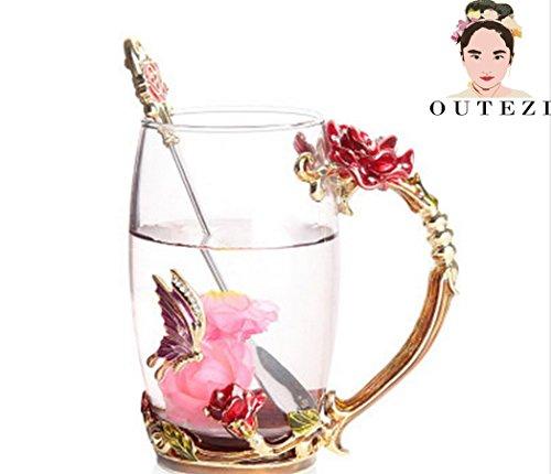 FENHAR Luxury Upgrade Enamel Glass Of Rose Bowl Heat-Resistant Crystal Glass Coffee Cup Couples Creative Gift Flower Tea CupTall mug