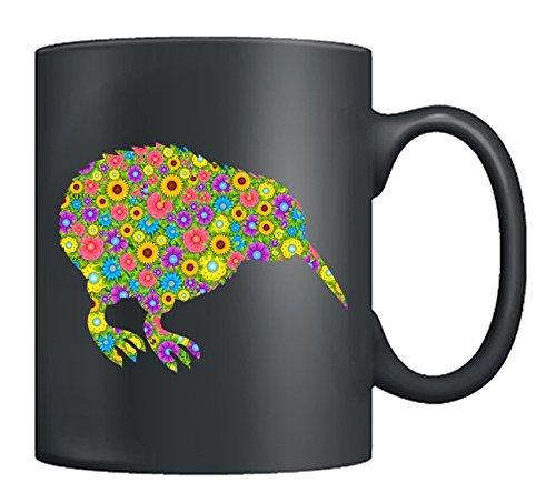 Kiwi Bird Mugs Ceramic - Kiwi Bird Coffee Mug Flowers Tea Cups Black Best Gifts For Men Women Black