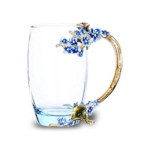 LuckySHD Creative Enamel Flower Tea Cup Crystal Glass Coffee Tea Water Cup-Blue plum blossom