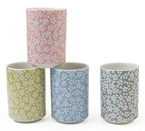 Miya Set of 4 Assorted Colors Japanese Haruzake Sakura Flower Teacups