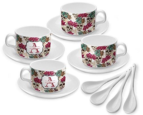 Sugar Skulls Flowers Tea Cup - Set of 4 Personalized