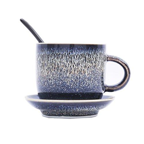 3 Piece Espresso Set Blue Glaze 7 oz Ceramics Round Cup Set With Saucers and Spoon Coffee Tea Cup Set