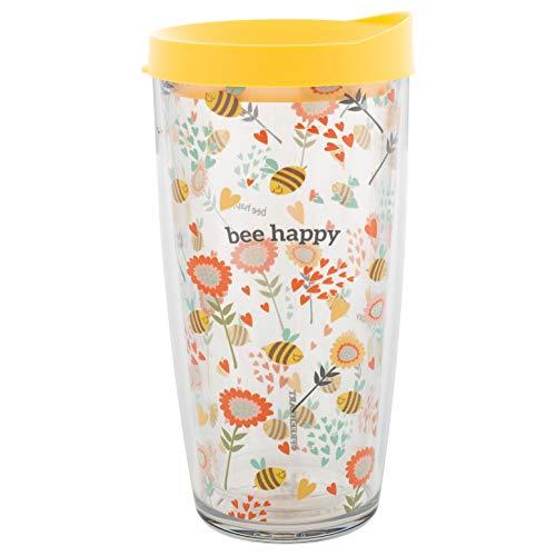 Bee Happy Insulated 16 Oz Travel Tumbler Mug with Yellow Lid