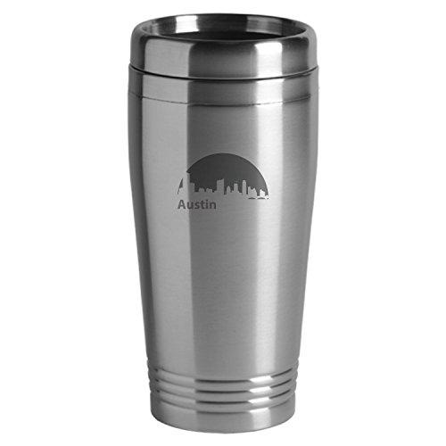 Austin Texas-Travel Mug Tumbler-Silver