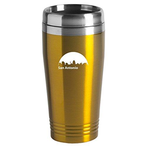 San Antonio Texas-Travel Mug Tumbler-Gold