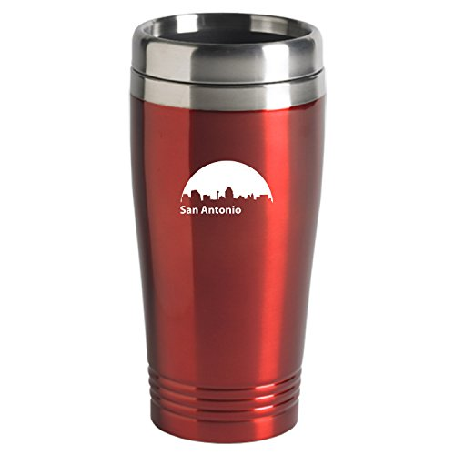 San Antonio Texas-Travel Mug Tumbler-Red