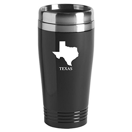 Texas-State Outline-16 oz Travel Mug Tumbler-Black