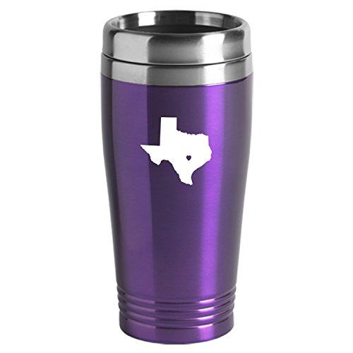 Texas-State Outline-Heart-16 oz Travel Mug Tumbler-Purple
