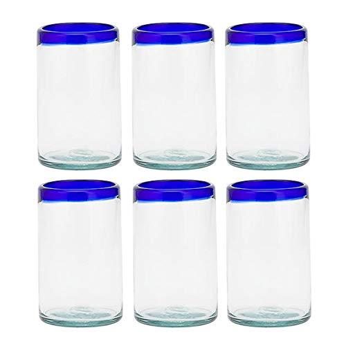 Amici Home 7MCR374S6R Baja Highball Drinking Glass 19 Fluid Ounces Cobalt Rim