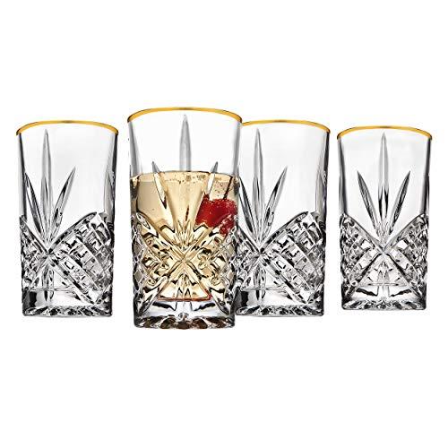 Godinger Highball Drinking Glasses Cups Gold Band - Dublin Set of 4