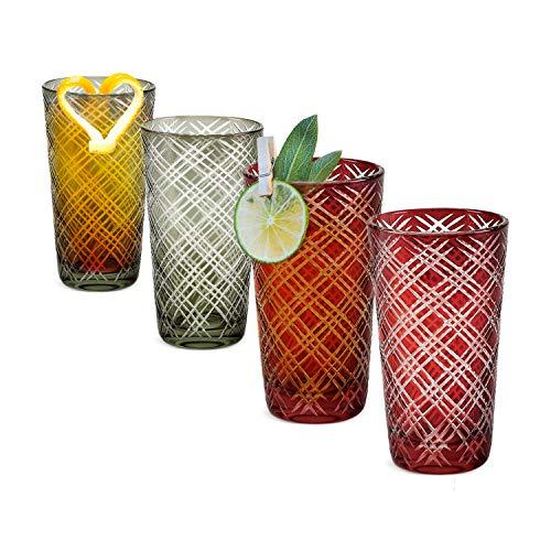 IMPULSE Monceau Highball Drinking Glasses Multi-Color Set of 4 2 Ruby 2 Slate
