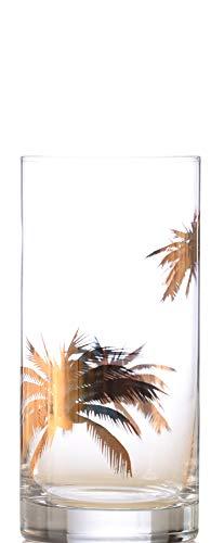 IMPULSE Palm Tree Gold Highball Drinking Glasses Set of 4
