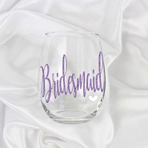 Purple unique Bridesmaid wine glass stemless gift Glitter design for her lavender 63