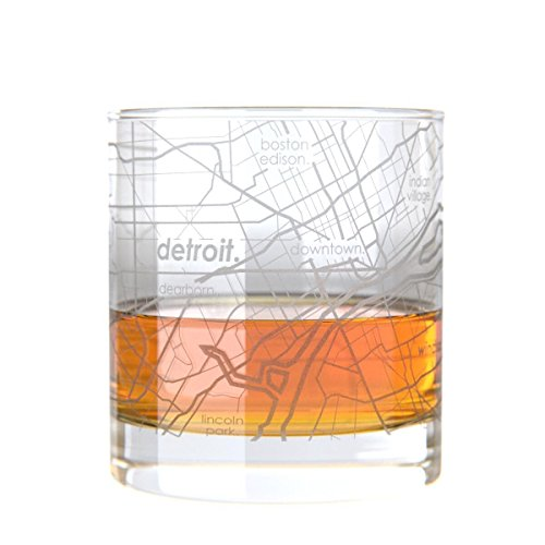 Uncommon Green Detroit Map Rocks Glass Etched Whiskey