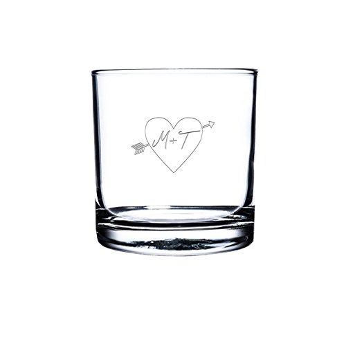 Etched Scotch GlassPersonalized Rocks Glass Custom Whiskey Glass Engraved Bourbon Glass His and her initial engraved scotch Glasses Customized Snifter Glass