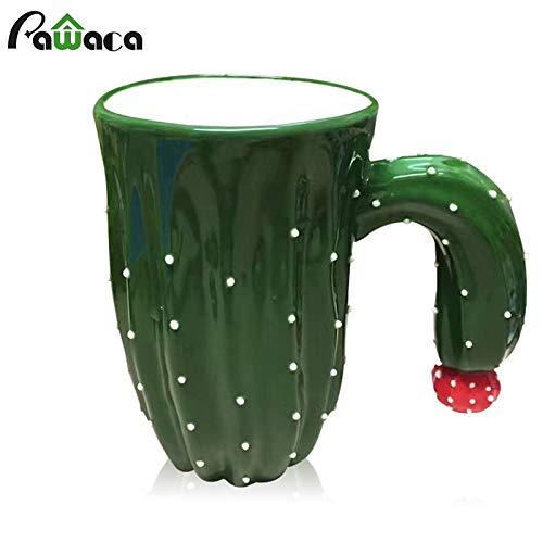 Fiesta Creative Ceramic 3D Cactus Shape Coffee Cup Plant Coffee Mug with Flower Decor Milk Tea Mug Home Office Water Drinking Cup Gift
