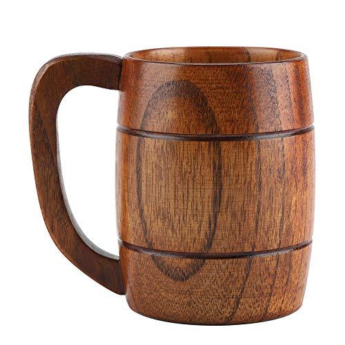 Natural Wooden Beer Cup Retro Big Capacity Tea Water Classic Wood Drinking Mug with Handle