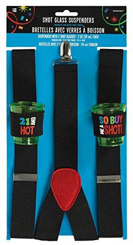 21st Brilliant Birthday Shot Glass Suspenders