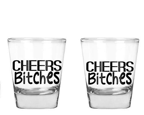 AW Fashions Cheers Bitches - Bachelorette Party Shot Glasses 21st Birthday Shot Glass - 2 Pack Round Set of Shot Glass