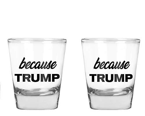 CBTwear - Because Trump - Anti Trump Funny Gag Gift - Birthday Gift for men or women - 175 OZ Shot Glass Set 2