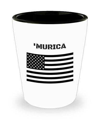 Collectible Souvenir Shot Glass Gift - Murica with Black US Flag Ceramic 15 oz Custom Printed Shot Glass