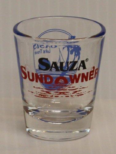 Sauza Conmemorativo Tequila 1oz Red Sundowner Oasis Lake Travis Austin Texas Promotional Shot Glass