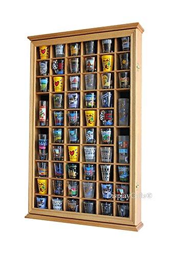 56 Shot Glass Shooter Display Case Holder Cabinet Wall Rack wGlass Door SC56-OA