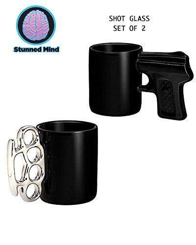 2-Pack GIFT SET 15 oz Silver Brass Knuckles and Black Pistol Grip Shot Glass Novelty GIFT
