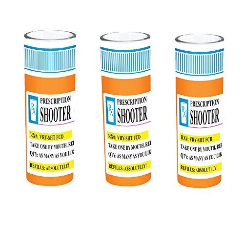 Shooter Shot Glass Prescription RX Pill Bottle Novelty Fun Shot Glass 4 oz - Set of 3