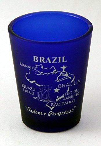 Brazil Cobalt Blue Frosted Shot Glass