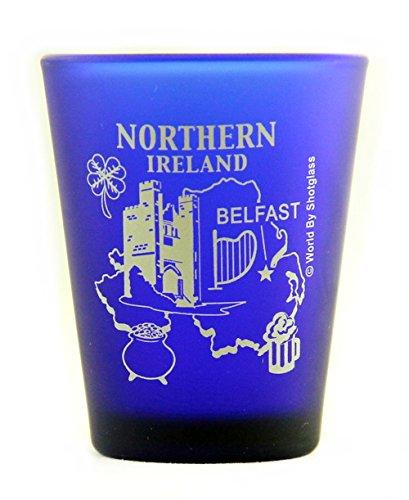 Northern Ireland Belfast Cobalt Blue Frosted Shot Glass