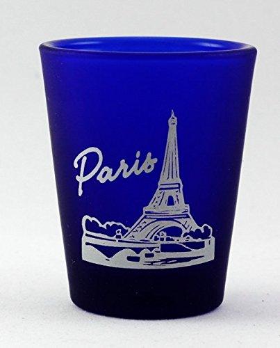 Paris France Cobalt Blue Frosted Shot Glass