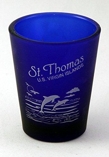 StThomas US Virgin Islands Cobalt Blue Frosted Shot Glass